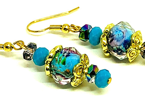 Turquoise Flower Bead with Gold Bead Caps Earrings