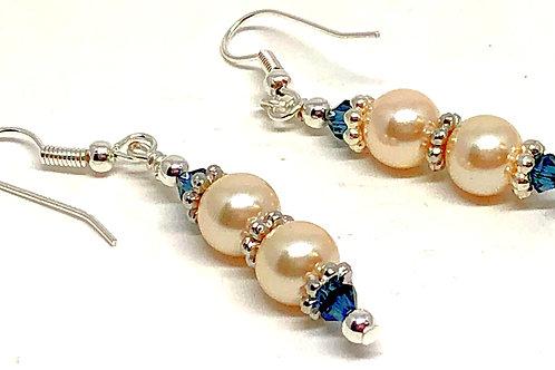 Silver Pearl Dark Blue Dangle Earrings