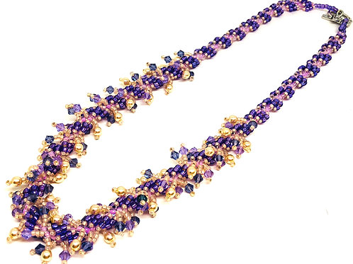 Purple Pink Shaggy Spiral Beadweaving Necklace