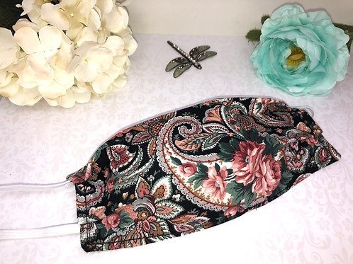 Blue and Pink Paisley Cotton Face Covering With Elastic