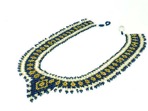 Blue White Gold Netting Beadweaving Necklace