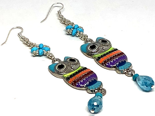 Turquoise Silver Shell Owl Earrings