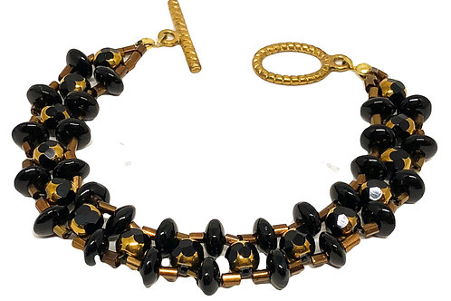 Black Bronze Right Angle Weave Beadweaving Bracelet