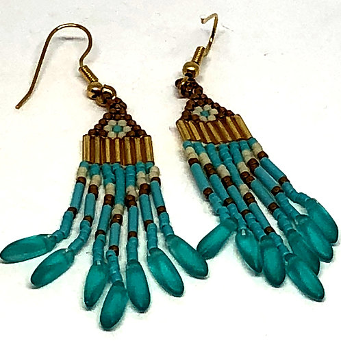 Turquoise Bronze with Turquoise Daggers Fringe Earrings