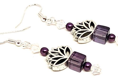 Purple Cube Lotus Bead Earrings