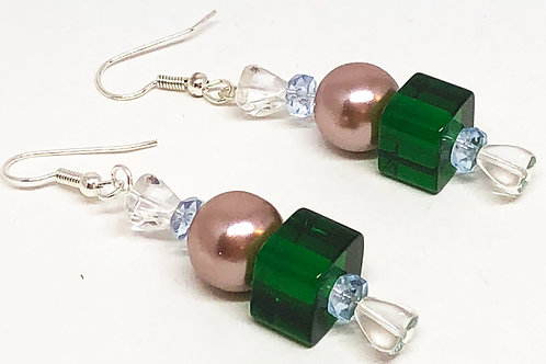 Green and Mauve Christmas Candy Beaded Earrings