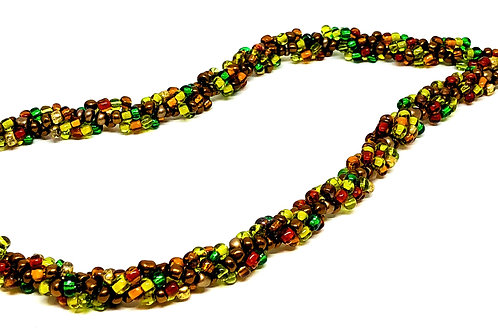Copper Brown Green Spiral Beadweaving Necklace