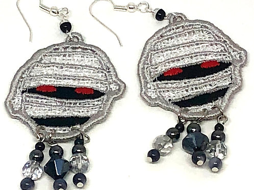 Halloween Mummy Face Dangle Earrings