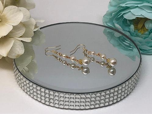 3 Drop Pearl Dangle Earrings
