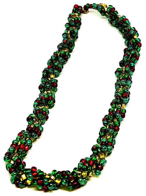 Green Red Gold Spiral Beadweaving Necklace
