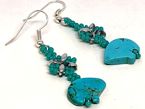 Turquoise Silver Shell Bear Earrings