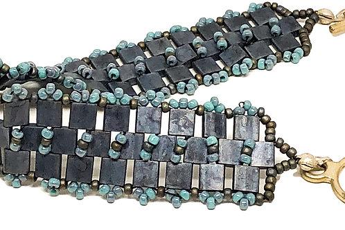 Gray Blue Tila Beadweaving Bracelet