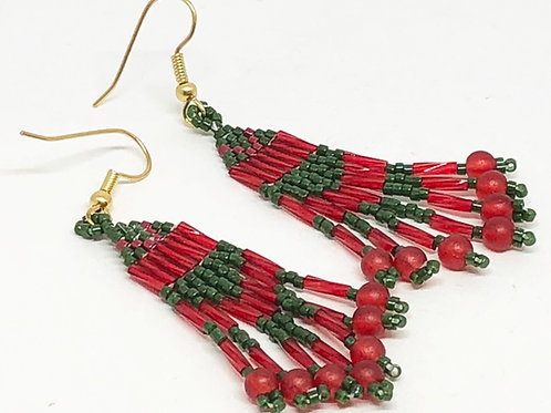 Cranberry Red Green Fringe Earrings