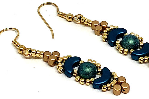 Blue Gold Crescent Earrings