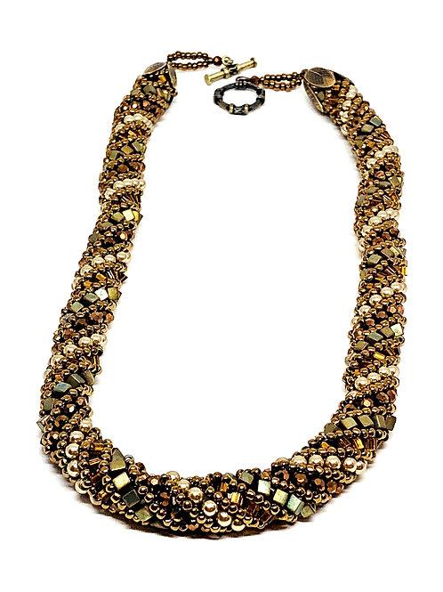 Brown Green Autumn Russian Spiral Beadweaving Necklace