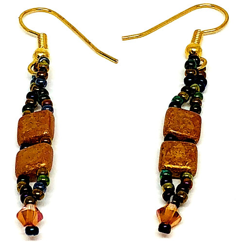 Gold Tile Beads with Swarvoski Crystals Beadweaving Earrings