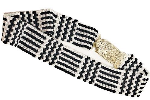 Black White Geometric Peyote Beadweaving Bracelet