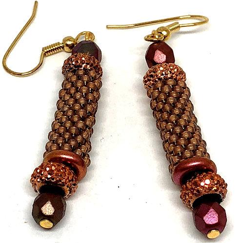 Copper Peyote Tube Beadweaving Earrings