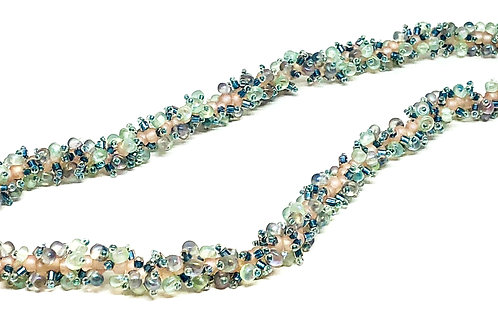 Blue Crystal Spiral Beadweaving Necklace