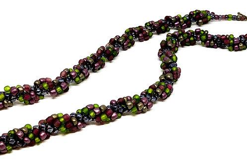 Purple Green Spiral m Beadweaving Necklace