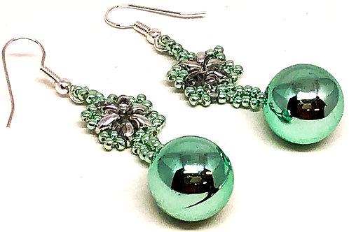 Pastel Green Snowflake Christmas Ornament Earrings