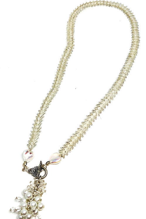 White Splendid Brilliance Beadweaving Necklace
