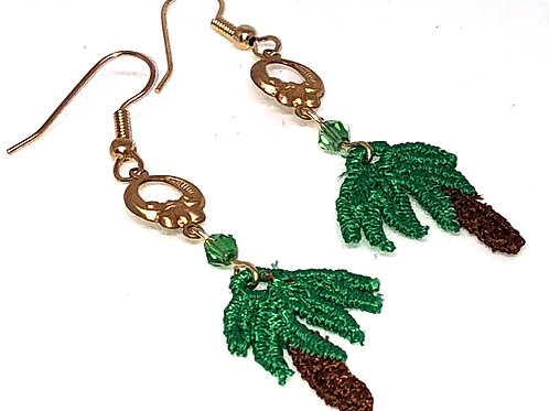 Palm Tree with Round Metal Connector Earrings