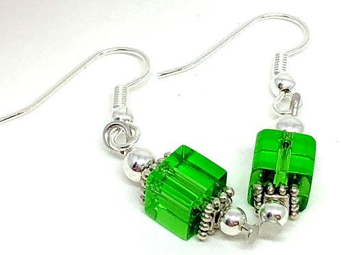 Green Cube Bead Earrings