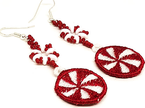 Christmas Peppermint Candy Snowflake Earrings