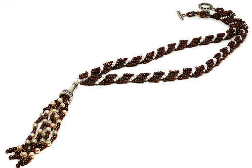 Copper Pearl with Tassle Spiral Beadweaving Necklace