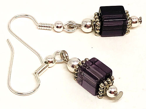 Purple Cube Bead Earrings
