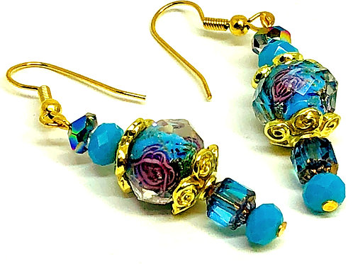Turquoise Flower Bead with Cathedral Beads Earrings