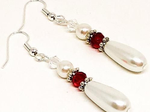 Pearl Drop Red Crystal Bead Earrings