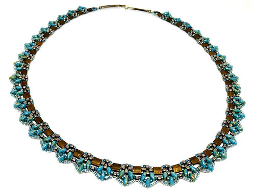Blue Black Silver Tila Beadweaving Necklace