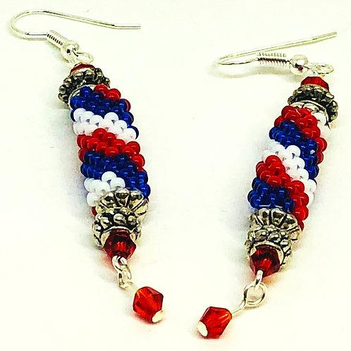 Red White Blue Peyote Tube Beadweaving Earrings