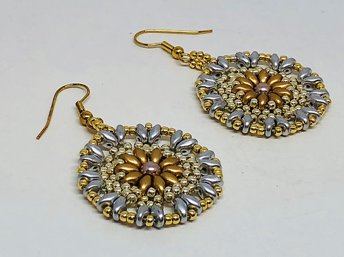 Gold Silver Medallion Beadweaving Earrings