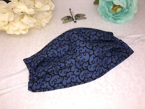 Blue Swirl Cotton Face Covering With Elastic