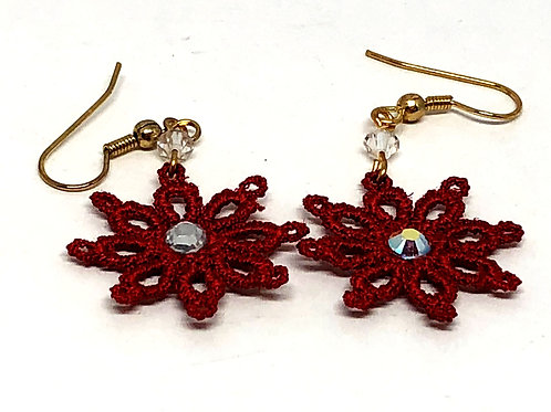 Red Lace Snowflake with Rhinestone Earrings