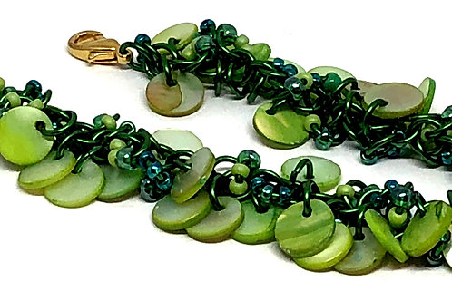Green Shaggy Loop Chainmaille Bracelet