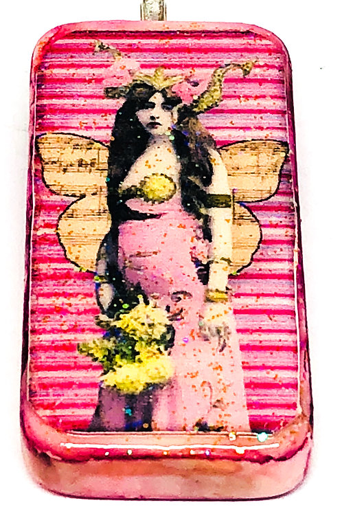 Pink Vintage Background with Girl in Pink Dress Altered Art Domino Pendant