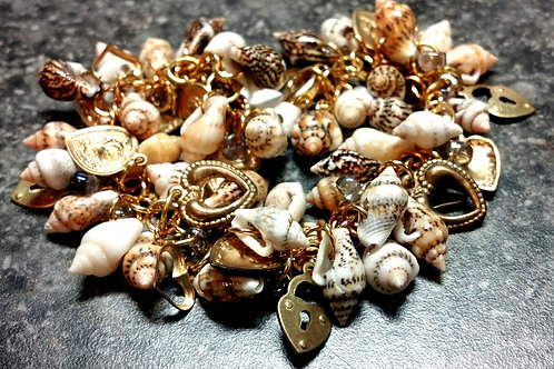 Sea Shell and Charms Shaggy Loop Chainmaille Bracelet