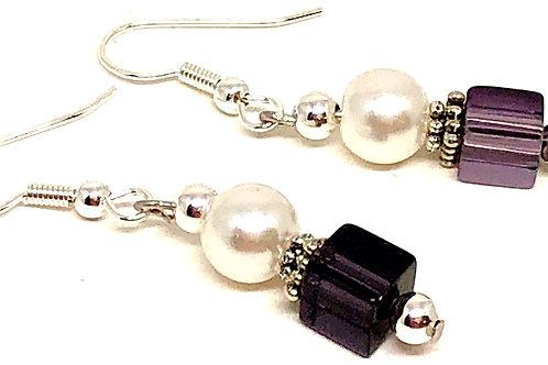 Pearl Purple Cube Bead Earrings