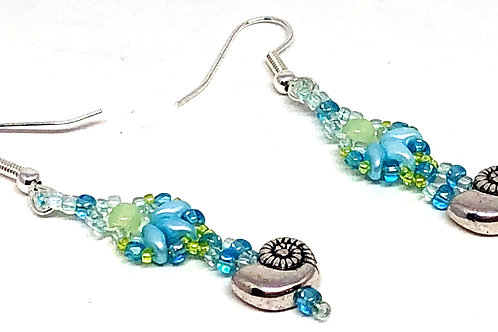 Blue Green Shell Sea Shell Earrings