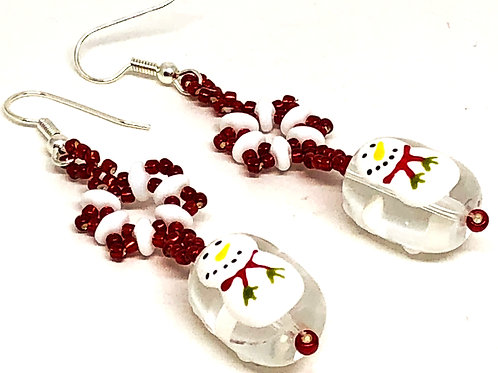 Red White Snowflake with Painted Snowman Earrings