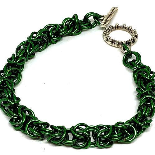 Green Byzantine Chainmaille Bracelet