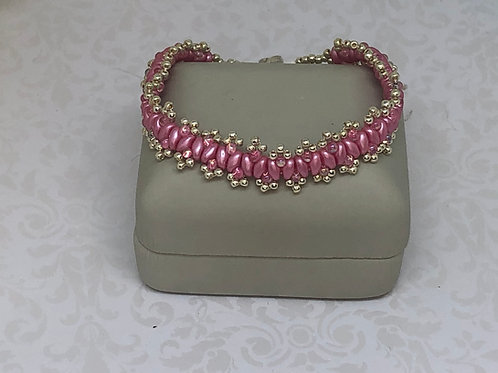 Think Pink Cancer Awareness Silver Picot Superduo Beadweaving Bracelet