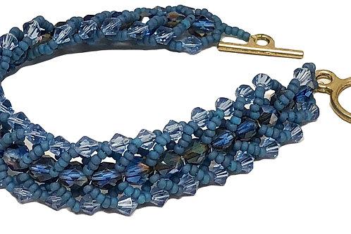 Blue Flat Spiral Beadweaving Bracelet