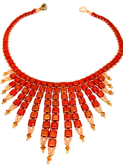 Peach Tile Beadweaving Spike Statement Necklace