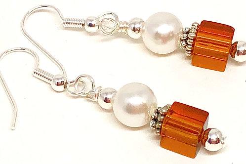 Pearl Brown Cube Bead Earrings