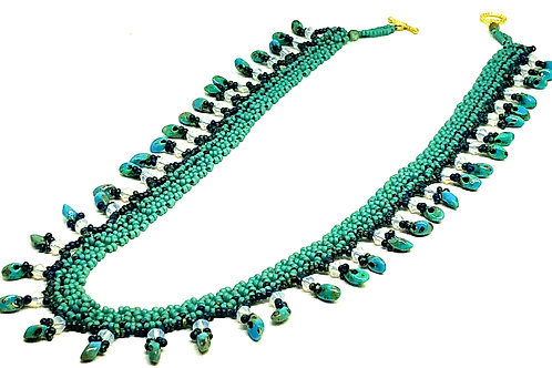 Turquoise Picasso Magatama Netting Beadweaving Necklace